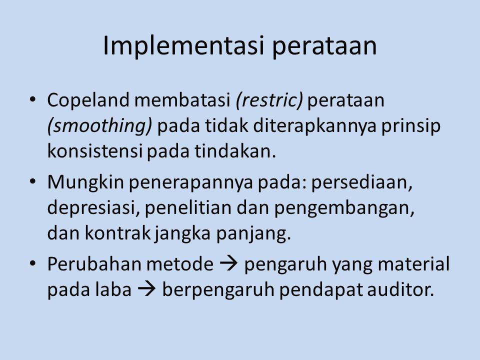 Implementasi perataan Copeland membatasi (restric) perataan (smoothing) pada tidak diterapkannya prinsip konsistensi pada tindakan.