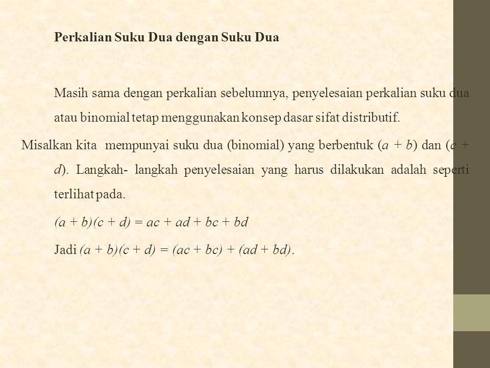 Perkalian Suku Dua dengan Suku Dua Masih sama dengan perkalian sebelumnya, penyelesaian perkalian suku dua atau binomial tetap menggunakan konsep dasa