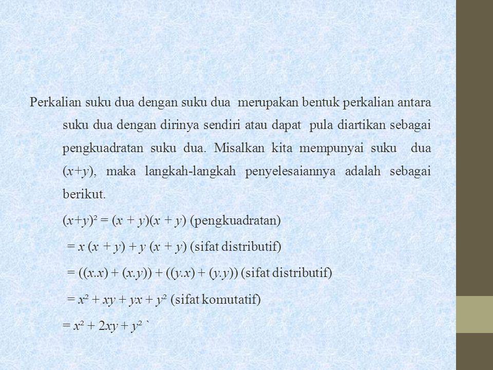 Perkalian suku dua dengan suku dua merupakan bentuk perkalian antara suku dua dengan dirinya sendiri atau dapat pula diartikan sebagai pengkuadratan s
