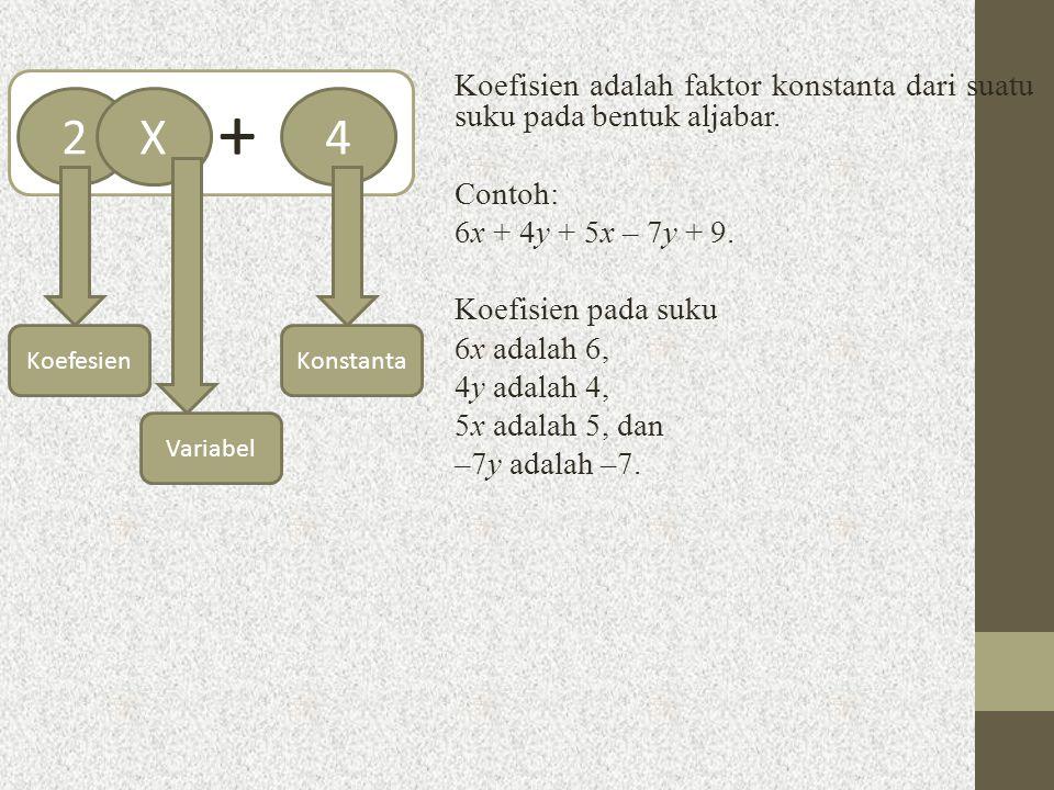 Koefisien adalah faktor konstanta dari suatu suku pada bentuk aljabar. Contoh: 6x + 4y + 5x – 7y + 9. Koefisien pada suku 6x adalah 6, 4y adalah 4, 5x