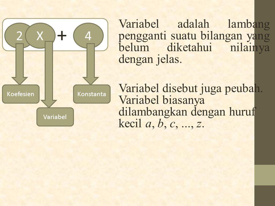 Variabel adalah lambang pengganti suatu bilangan yang belum diketahui nilainya dengan jelas. Variabel disebut juga peubah. Variabel biasanya dilambang