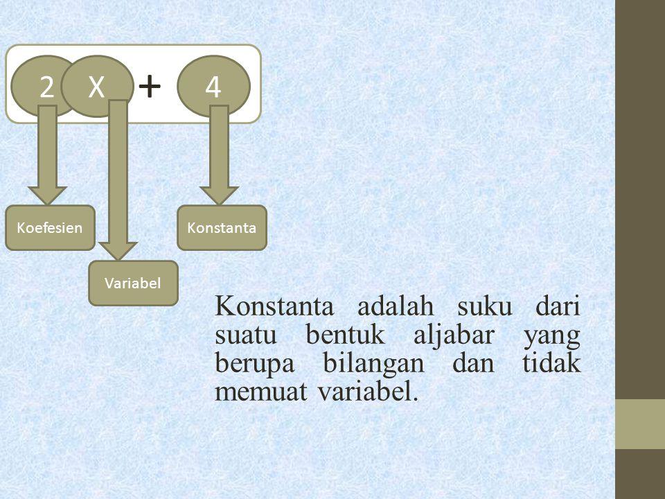 Konstanta adalah suku dari suatu bentuk aljabar yang berupa bilangan dan tidak memuat variabel. + 24X KoefesienKonstanta Variabel