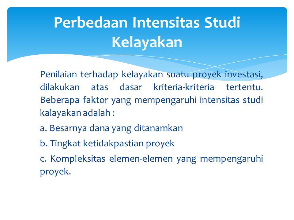 Penilaian terhadap kelayakan suatu proyek investasi, dilakukan atas dasar kriteria-kriteria tertentu. Beberapa faktor yang mempengaruhi intensitas stu