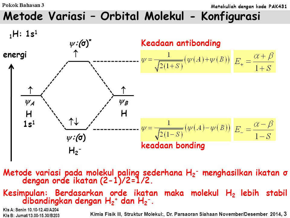 Metode variasi pada molekul paling sederhana H 2 - menghasilkan ikatan σ dengan orde ikatan (2-1)/2=1/2.