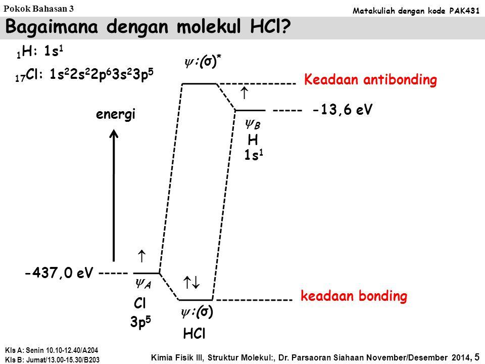1 H: 1s 1 Bagaimana dengan molekul HCl.