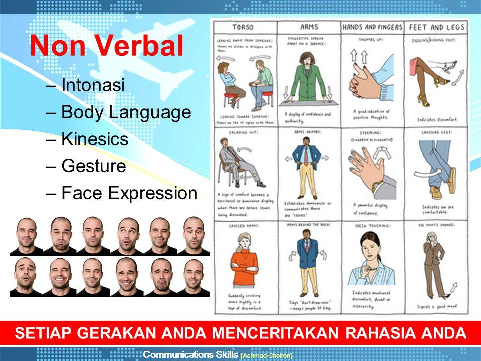 Communications Skills [Achmad Choiron] Karakteristik Komunikasi Non Verbal 1.Gunakan – kapanpun dan dimanapun 2.Kita selalu berkomunikasi (suka atau tidak suka) 3.Makna komunikasi tergantung juga dari konteksnya 4.Komunikasi Non Verbal lebih bisa dipercaya 5.Komunikasi Non verbal adalah cara utama dalam mengekspresikan perasaan dan sikap