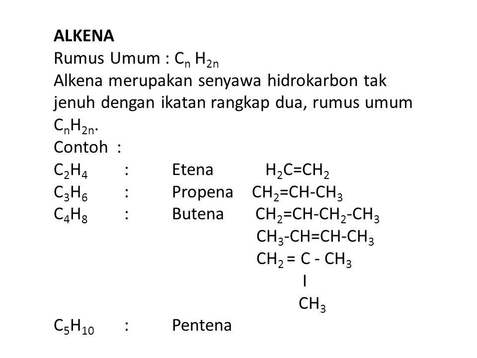 ALKANA C n H 2n+2 IKATAN TUNGGAL ALKENA C n H 2n IKATAN RANGKAP ALKUNA C n H 2n-2 IKATAN RANGKAP TIGA CH 4 metana - - C 2 H 6 etana C 2 H 4 etena C 2 H 2 etuna C 3 H 8 propana C 3 H 6 propena C 3 H 4 propuna