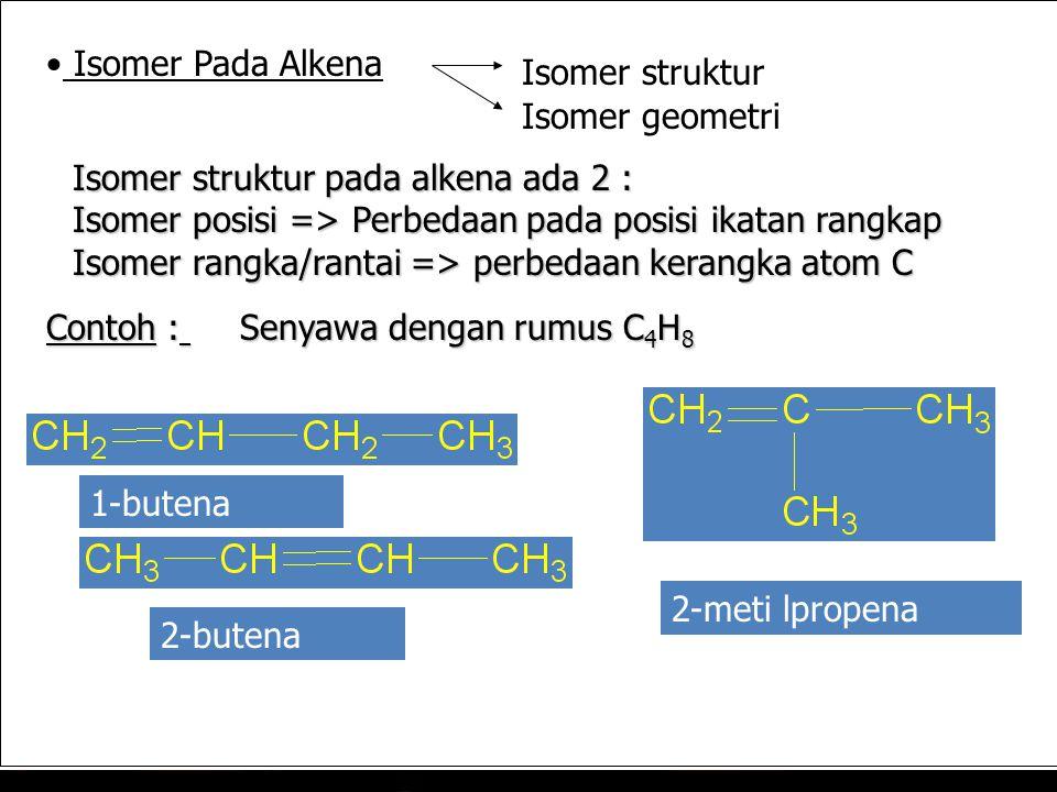 Isomer struktur pada alkena ada 2 : Isomer posisi => Perbedaan pada posisi ikatan rangkap Isomer rangka/rantai => perbedaan kerangka atom C Contoh : Senyawa dengan rumus C 4 H 8 1-butena Isomer Pada Alkena Isomer struktur Isomer geometri 2-butena 2-metil-1-propena 2-meti lpropena