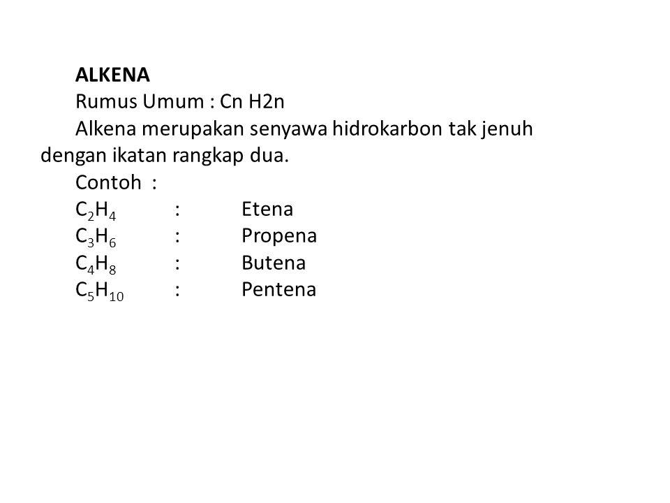ALKENA Rumus Umum : Cn H2n Alkena merupakan senyawa hidrokarbon tak jenuh dengan ikatan rangkap dua.