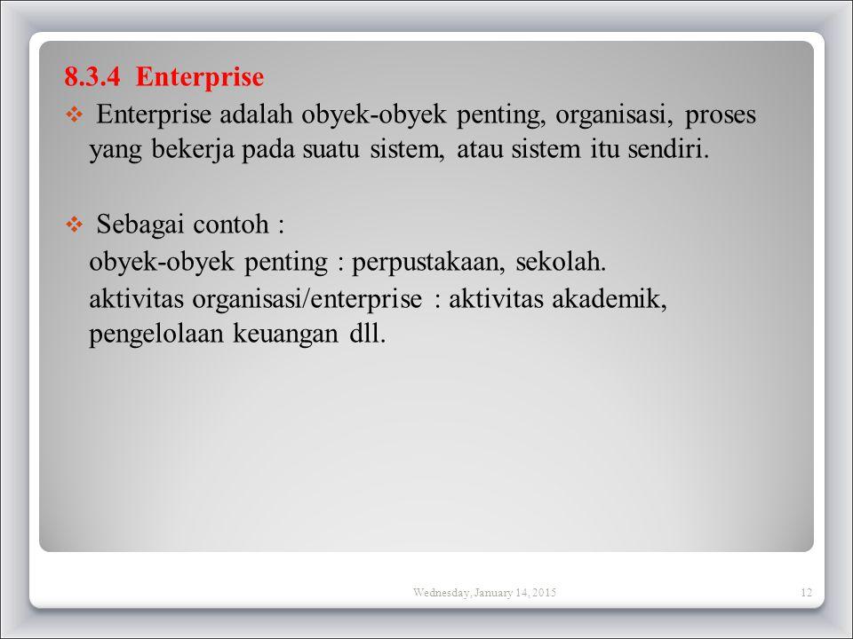 8.3.4 Enterprise  Enterprise adalah obyek-obyek penting, organisasi, proses yang bekerja pada suatu sistem, atau sistem itu sendiri.