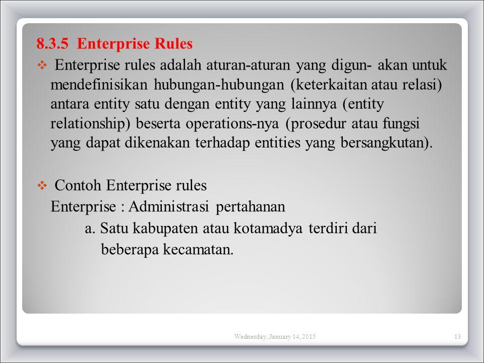 8.3.5 Enterprise Rules  Enterprise rules adalah aturan-aturan yang digun- akan untuk mendefinisikan hubungan-hubungan (keterkaitan atau relasi) antara entity satu dengan entity yang lainnya (entity relationship) beserta operations-nya (prosedur atau fungsi yang dapat dikenakan terhadap entities yang bersangkutan).