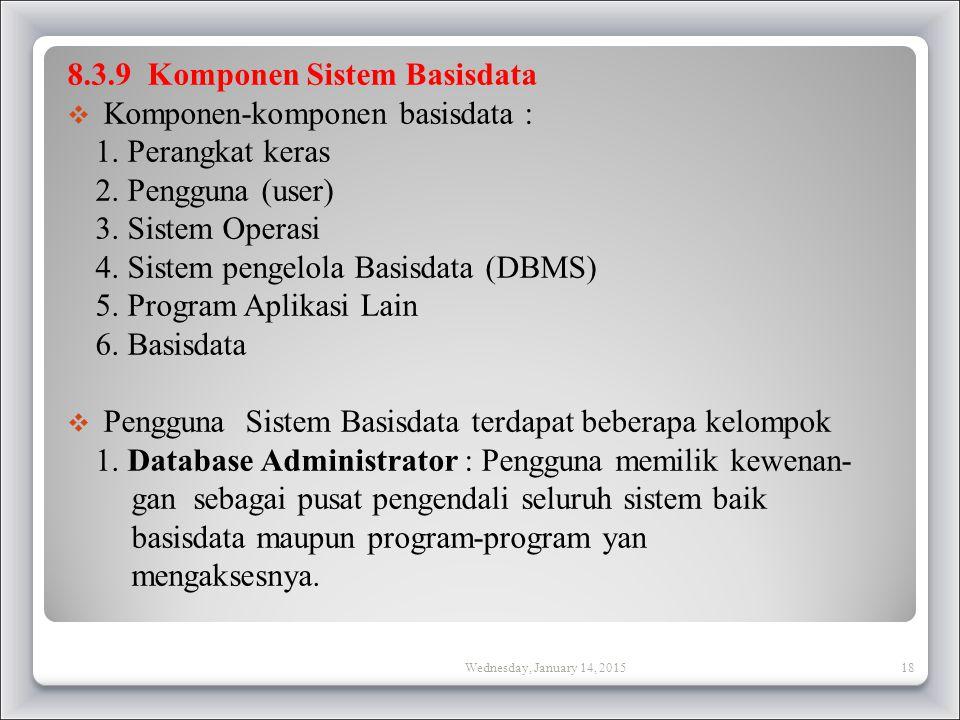 8.3.9 Komponen Sistem Basisdata  Komponen-komponen basisdata : 1.