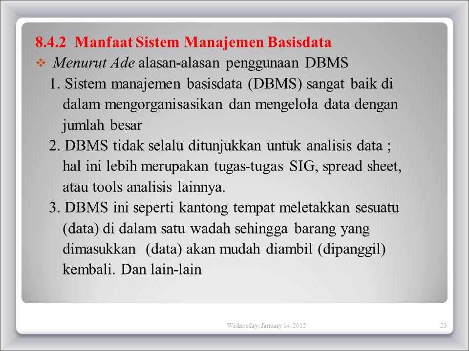 8.4.2 Manfaat Sistem Manajemen Basisdata  Menurut Ade alasan-alasan penggunaan DBMS 1.