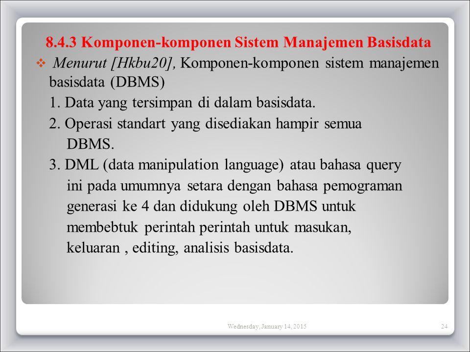 8.4.3 Komponen-komponen Sistem Manajemen Basisdata  Menurut [Hkbu20], Komponen-komponen sistem manajemen basisdata (DBMS) 1.