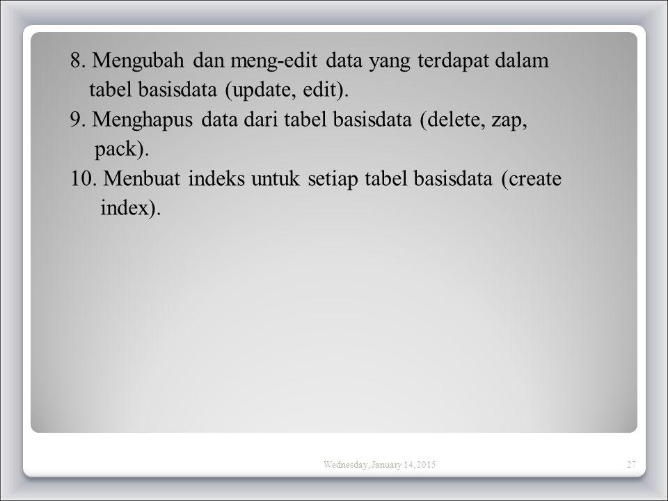 8.Mengubah dan meng-edit data yang terdapat dalam tabel basisdata (update, edit).