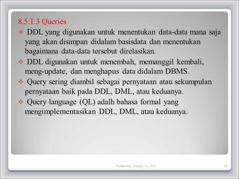 8.5.1.3 Queries  DDL yang digunakan untuk menentukan data-data mana saja yang akan disimpan didalam basisdata dan menentukan bagaimana data-data tersebut direlasikan.