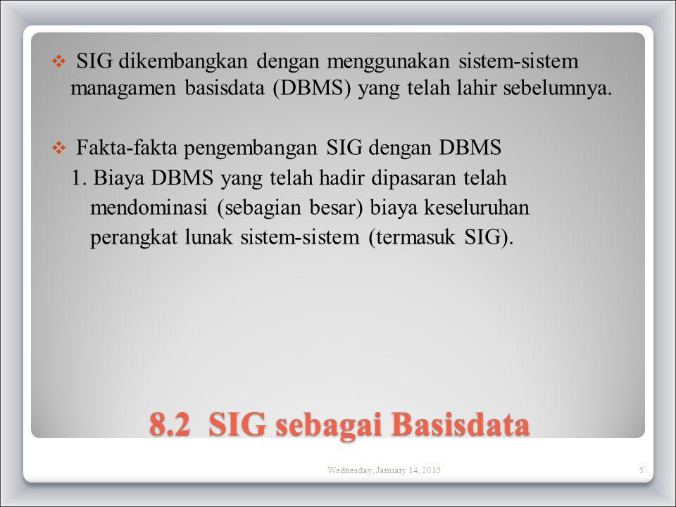8.2 SIG sebagai Basisdata  SIG dikembangkan dengan menggunakan sistem-sistem managamen basisdata (DBMS) yang telah lahir sebelumnya.