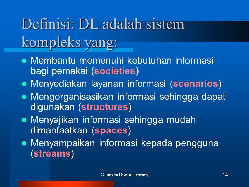 Ganesha Digital Library14 Definisi: DL adalah sistem kompleks yang: Membantu memenuhi kebutuhan informasi bagi pemakai (societies) Menyediakan layanan