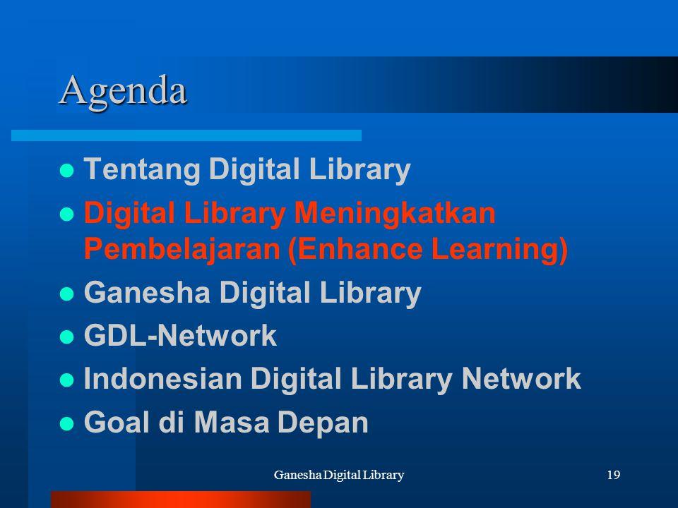 Ganesha Digital Library19 Agenda Tentang Digital Library Digital Library Meningkatkan Pembelajaran (Enhance Learning) Ganesha Digital Library GDL-Netw