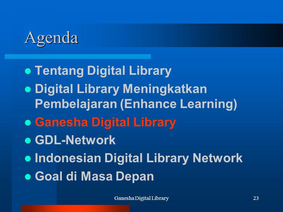 Ganesha Digital Library23 Agenda Tentang Digital Library Digital Library Meningkatkan Pembelajaran (Enhance Learning) Ganesha Digital Library GDL-Netw