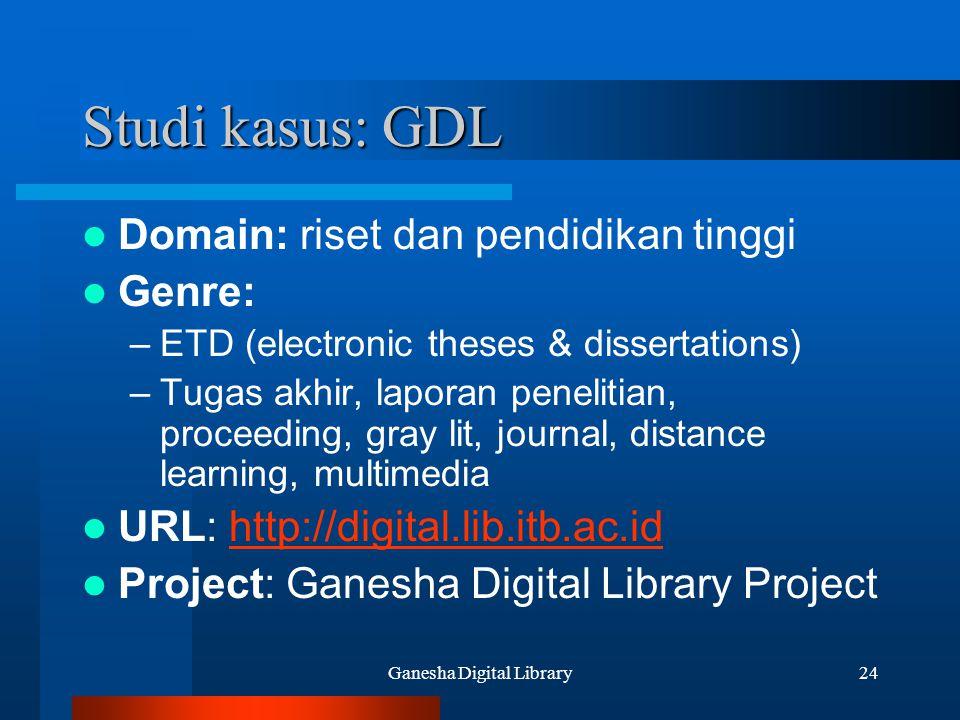Ganesha Digital Library24 Studi kasus: GDL Domain: riset dan pendidikan tinggi Genre: –ETD (electronic theses & dissertations) –Tugas akhir, laporan p