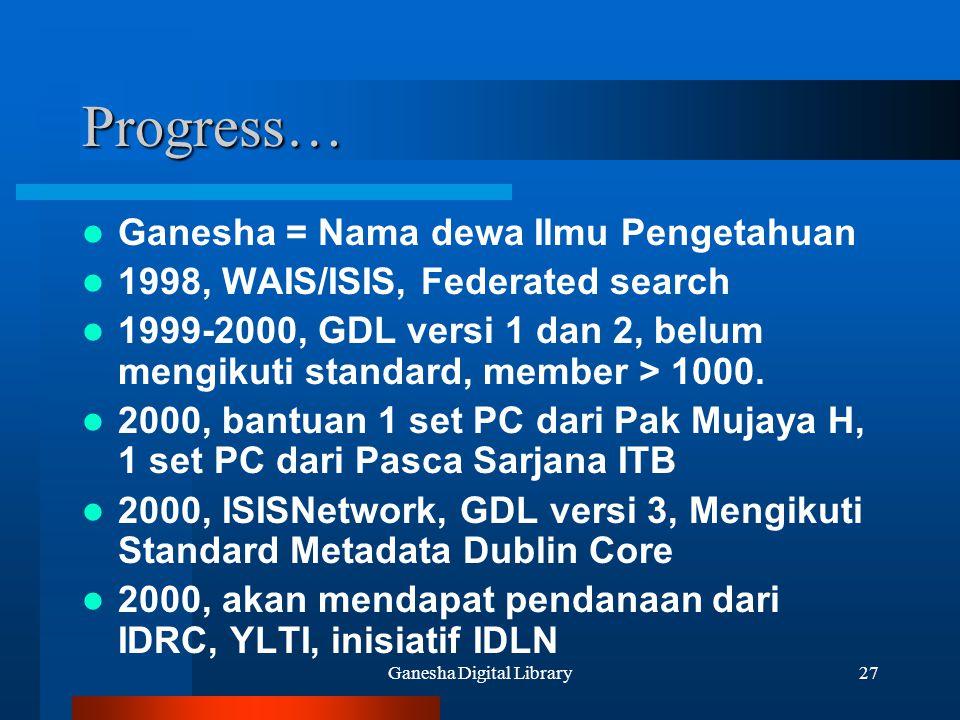 Ganesha Digital Library27 Progress… Ganesha = Nama dewa Ilmu Pengetahuan 1998, WAIS/ISIS, Federated search 1999-2000, GDL versi 1 dan 2, belum mengiku