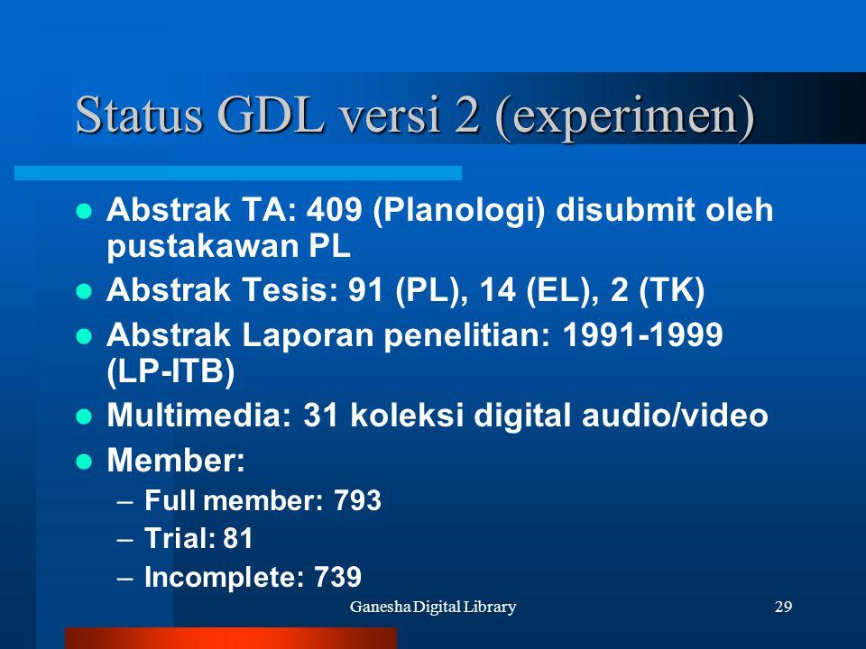 Ganesha Digital Library29 Status GDL versi 2 (experimen) Abstrak TA: 409 (Planologi) disubmit oleh pustakawan PL Abstrak Tesis: 91 (PL), 14 (EL), 2 (T