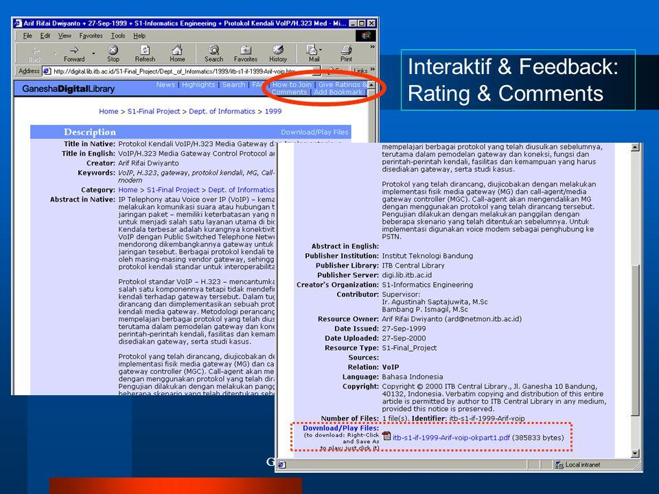 Ganesha Digital Library34 Interaktif & Feedback: Rating & Comments