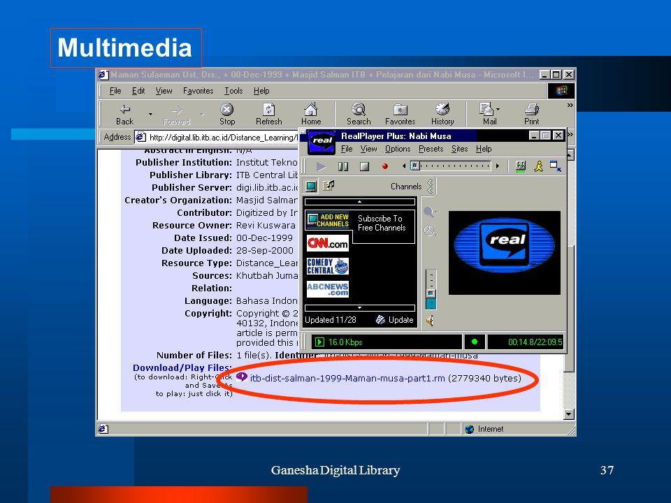 Ganesha Digital Library37 Multimedia