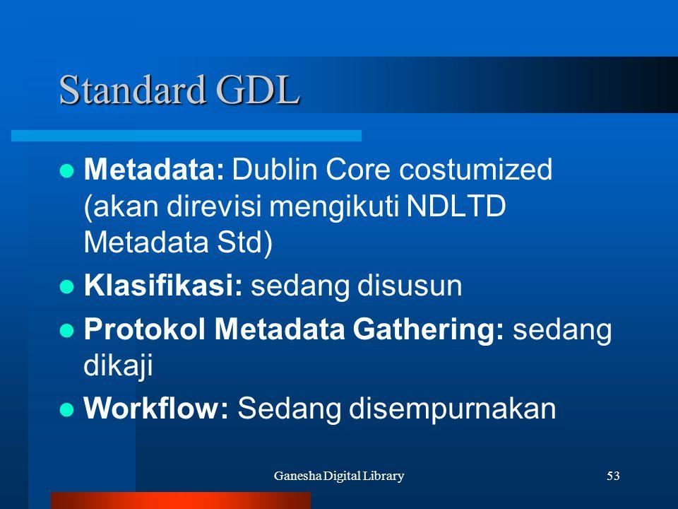 Ganesha Digital Library53 Standard GDL Metadata: Dublin Core costumized (akan direvisi mengikuti NDLTD Metadata Std) Klasifikasi: sedang disusun Proto