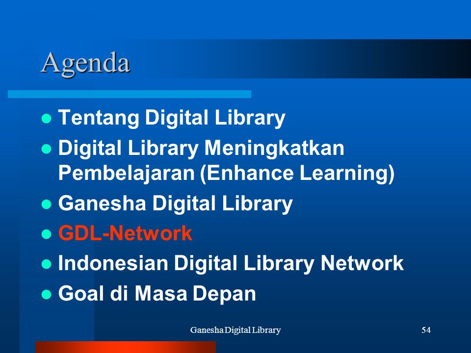Ganesha Digital Library54 Agenda Tentang Digital Library Digital Library Meningkatkan Pembelajaran (Enhance Learning) Ganesha Digital Library GDL-Netw