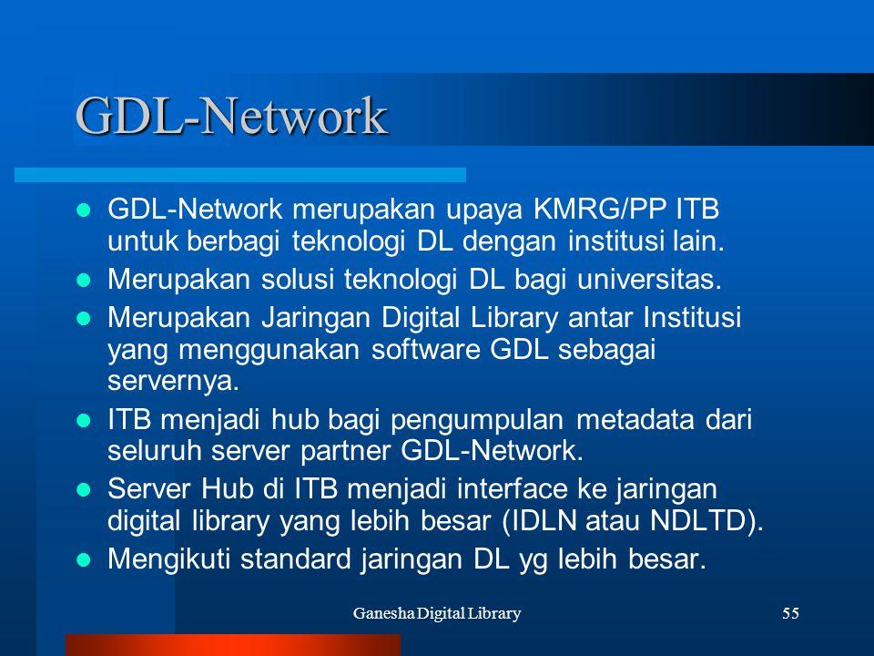 Ganesha Digital Library55 GDL-Network GDL-Network merupakan upaya KMRG/PP ITB untuk berbagi teknologi DL dengan institusi lain. Merupakan solusi tekno