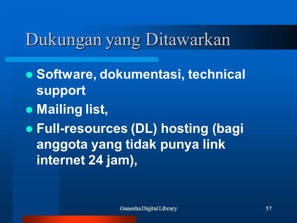 Ganesha Digital Library57 Dukungan yang Ditawarkan Software, dokumentasi, technical support Mailing list, Full-resources (DL) hosting (bagi anggota ya