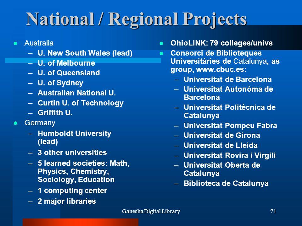 Ganesha Digital Library71 National / Regional Projects Australia –U. New South Wales (lead) –U. of Melbourne –U. of Queensland –U. of Sydney –Australi