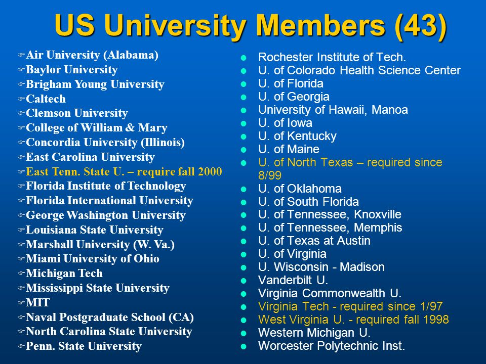 US University Members (43) Rochester Institute of Tech.