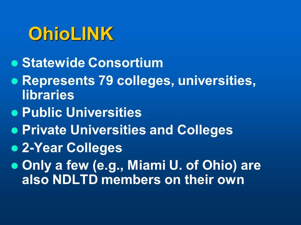 OhioLINK Statewide Consortium Represents 79 colleges, universities, libraries Public Universities Private Universities and Colleges 2-Year Colleges On