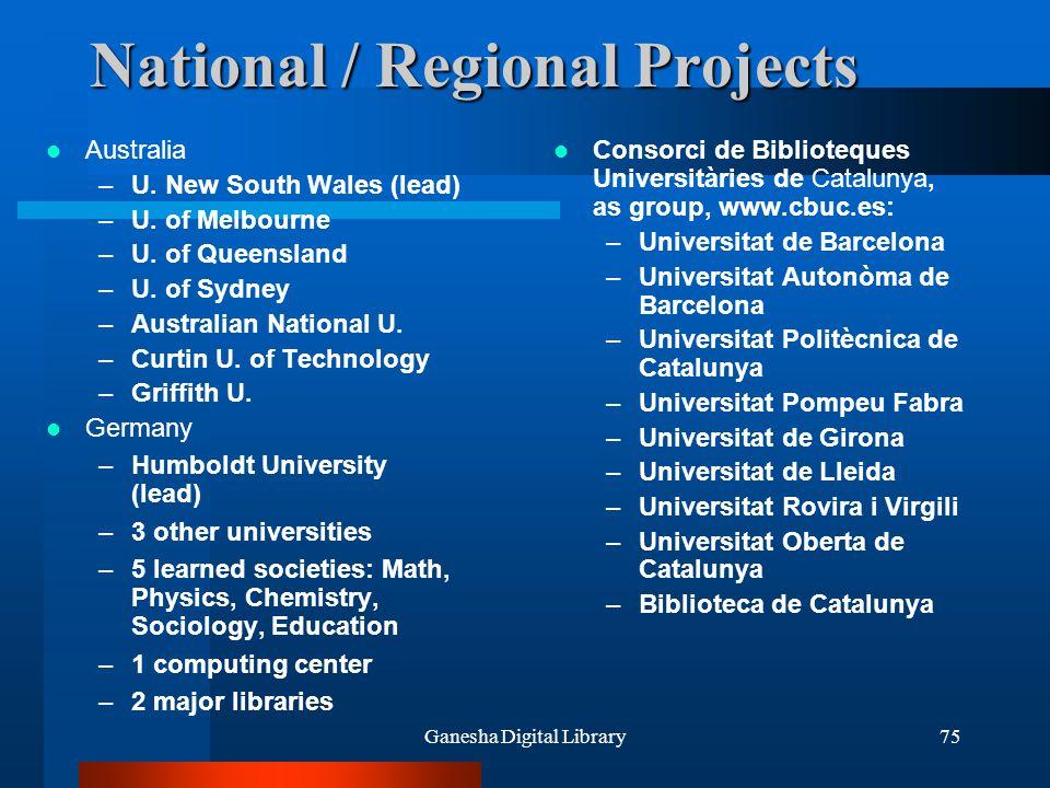 Ganesha Digital Library75 National / Regional Projects Australia –U. New South Wales (lead) –U. of Melbourne –U. of Queensland –U. of Sydney –Australi