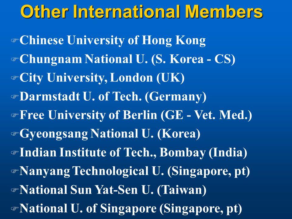 Other International Members F Chinese University of Hong Kong F Chungnam National U. (S. Korea - CS) F City University, London (UK) F Darmstadt U. of