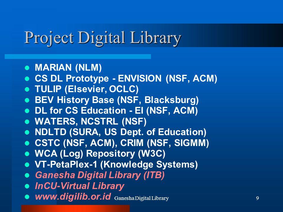 Ganesha Digital Library60 Agenda Tentang Digital Library Digital Library Meningkatkan Pembelajaran (Enhance Learning) Ganesha Digital Library GDL-Network Indonesian Digital Library Network Goal di Masa Depan