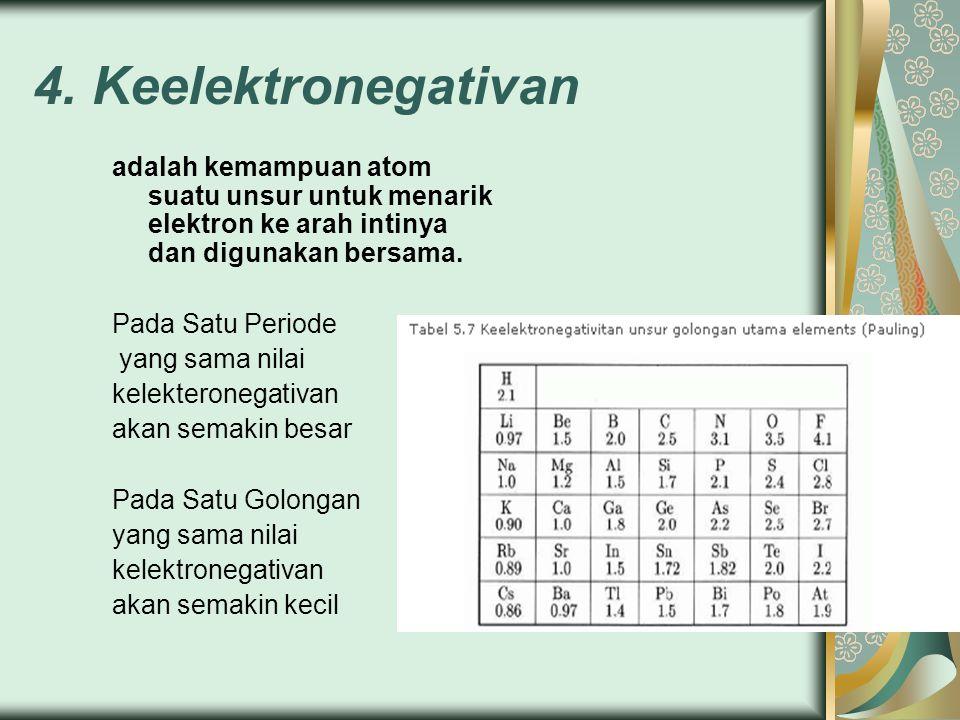 4. Keelektronegativan adalah kemampuan atom suatu unsur untuk menarik elektron ke arah intinya dan digunakan bersama. Pada Satu Periode yang sama nila
