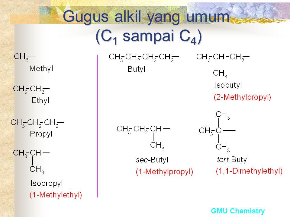 Nomenklature Alkana Alkana selalu diakhiri -ana. Rantai samping (substituent) disebut sebagai gugus alkil.