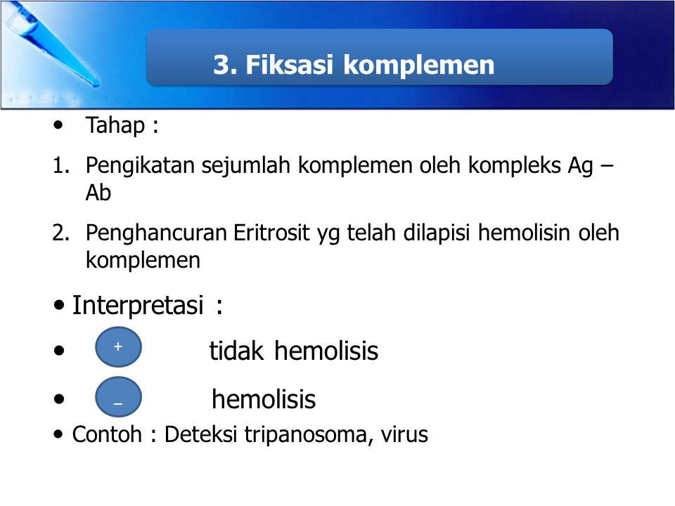 3. Fiksasi komplemen Tahap : 1.Pengikatan sejumlah komplemen oleh kompleks Ag – Ab 2.Penghancuran Eritrosit yg telah dilapisi hemolisin oleh komplemen