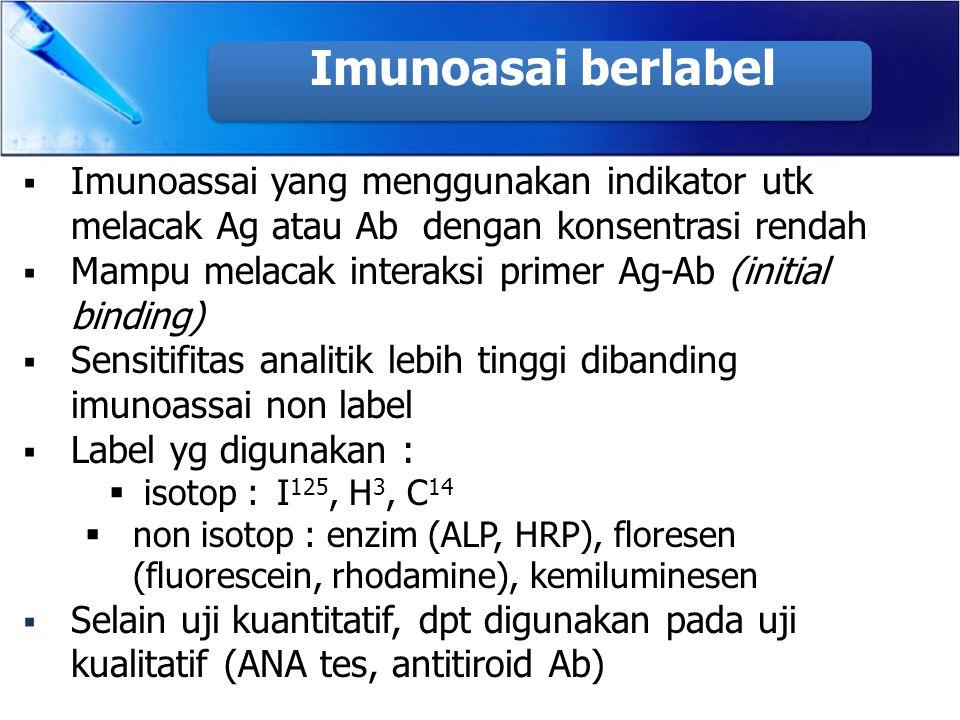  Imunoassai yang menggunakan indikator utk melacak Ag atau Ab dengan konsentrasi rendah  Mampu melacak interaksi primer Ag-Ab (initial binding)  Se