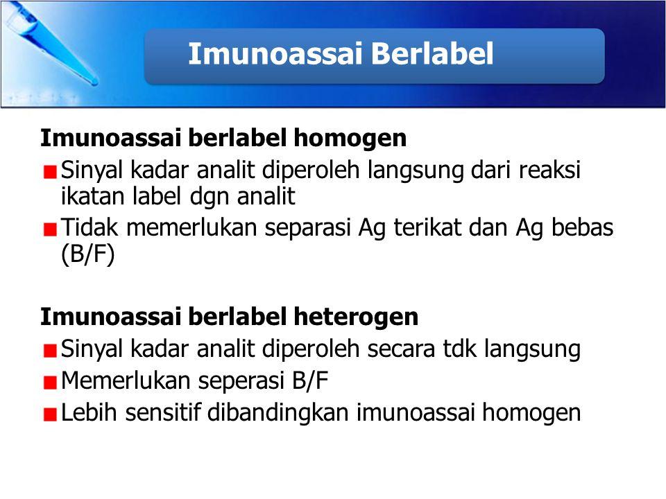 Imunoassai Berlabel Imunoassai berlabel homogen Sinyal kadar analit diperoleh langsung dari reaksi ikatan label dgn analit Tidak memerlukan separasi A