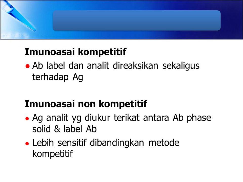 Imunoasai kompetitif ●Ab label dan analit direaksikan sekaligus terhadap Ag Imunoasai non kompetitif ● Ag analit yg diukur terikat antara Ab phase sol