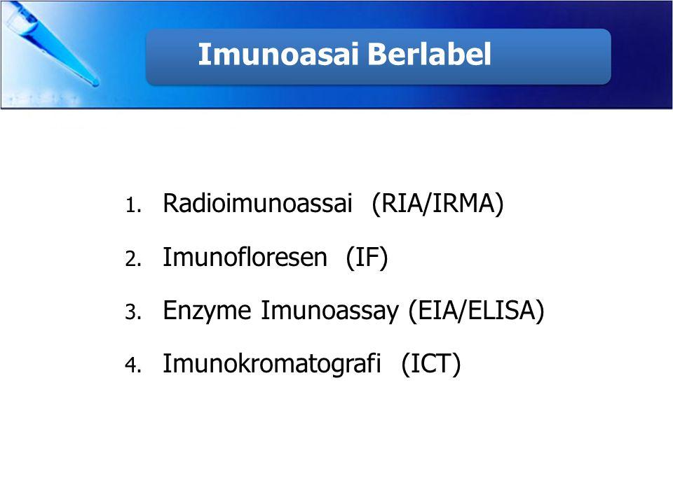 Imunoasai Berlabel 1. Radioimunoassai (RIA/IRMA) 2. Imunofloresen (IF) 3. Enzyme Imunoassay (EIA/ELISA) 4. Imunokromatografi (ICT)