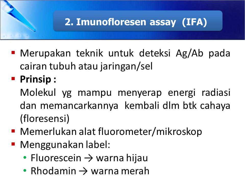 2. Imunofloresen assay (IFA)  Merupakan teknik untuk deteksi Ag/Ab pada cairan tubuh atau jaringan/sel  Prinsip : Molekul yg mampu menyerap energi r