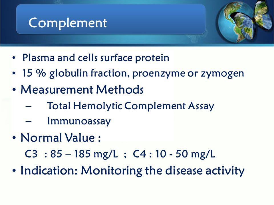 Plasma and cells surface protein 15 % globulin fraction, proenzyme or zymogen Measurement Methods – Total Hemolytic Complement Assay – Immunoassay Nor