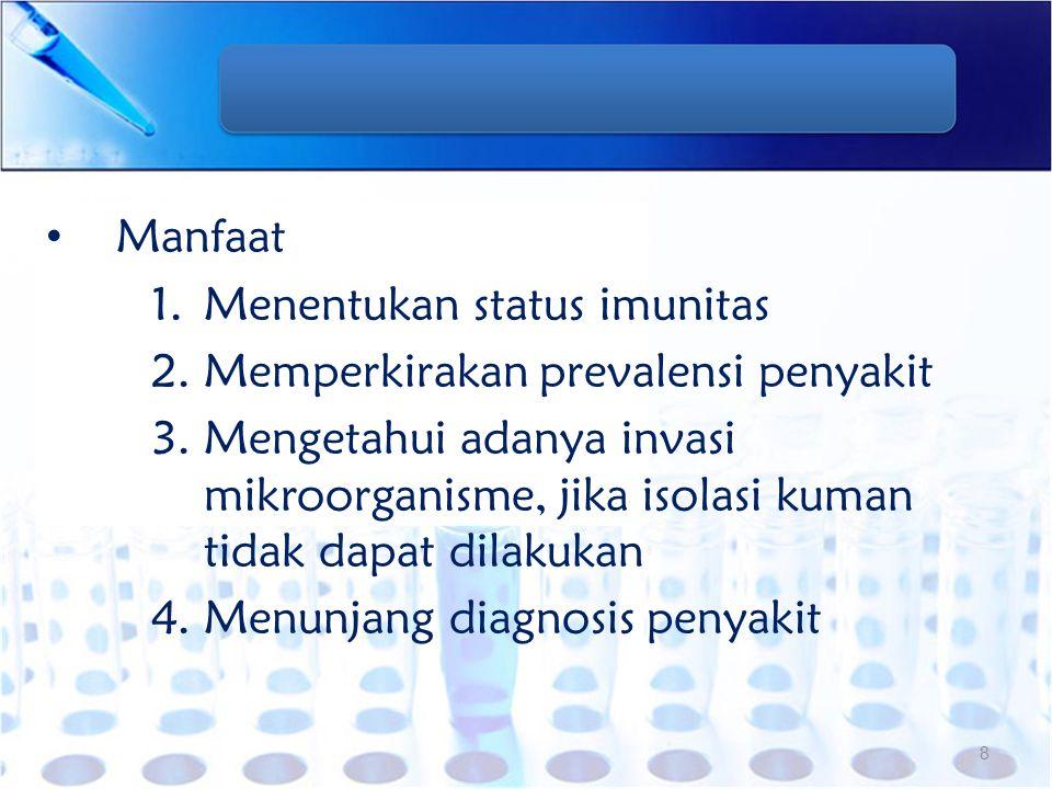 Manfaat 1.Menentukan status imunitas 2.Memperkirakan prevalensi penyakit 3.Mengetahui adanya invasi mikroorganisme, jika isolasi kuman tidak dapat dil