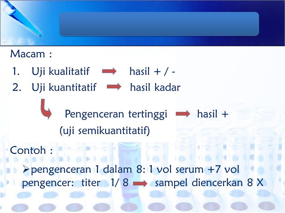 Contoh-contoh pemeriksaan aglutinasi 1.Aglutinasi direk 2.Aglutinasi indirek (pasif) 3.Aglutinasi pasif terbalik 4.Hambatan aglutinasi